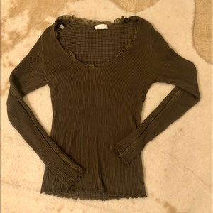 Authentic Valentino olive green v-neck blouse